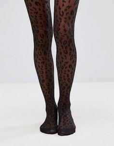 Колготки с леопардовым принтом ASOS - Черный