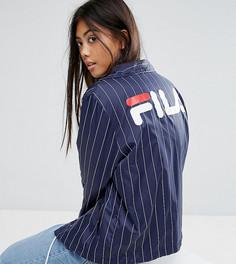 Ветровка в тонкую полоску с логотипом на спине Fila Petite - Темно-синий