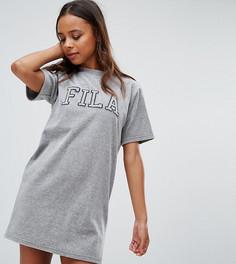 Велюровое платье-футболка с контрастным логотипом Fila Petite - Серый