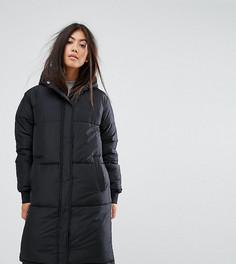 Дутое пальто с капюшоном и логотипом Fila Petite - Черный
