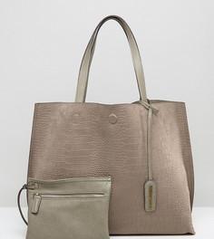 Песочная сумка-тоут из искусственной замши с крокодиловым рисунком Street Level - Бежевый
