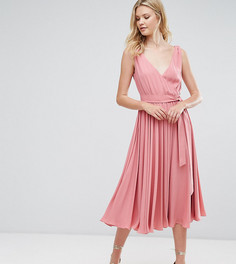 Платье миди с бантом ASOS TALL WEDDING - Розовый