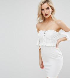 Платье мини с открытыми плечами NaaNaa Petite - Белый
