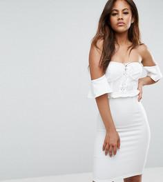 Платье мини с открытыми плечами с отделкой в стиле корсета NaaNaa Tall - Белый