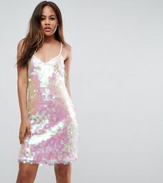 Платье мини с переливающимися пайетками NaaNaa Tall - Белый
