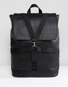 Черный рюкзак из искусственной кожи с ремешками ASOS - Черный