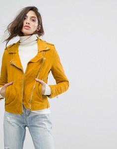Замшевая байкерская куртка Goosecraft - Желтый