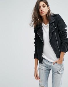 Замшевая байкерская куртка Goosecraft - Серый