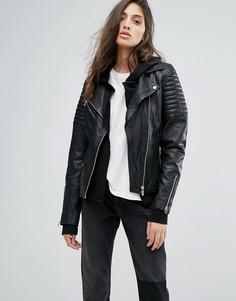 Кожаная байкерская куртка в рубчик Goosecraft - Черный