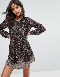 Платье мини с цветочным принтом и вырезами BA&SH - Черный Ba&Sh