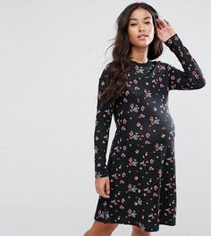 Короткое приталенное платье с цветочным принтом ASOS Maternity TALL - Мульти