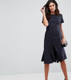Платье в полоску с оборками ASOS Maternity - Темно-синий