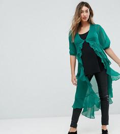 Шифоновая блузка макси с оборкой ASOS Maternity Ultimate - Зеленый