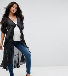 Шифоновая блузка макси с оборкой ASOS Maternity Ultimate - Черный