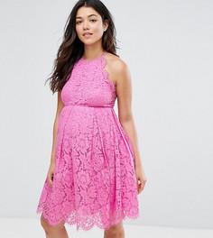 Кружевное платье мини для выпускного с фактурной отделкой ASOS Maternity - Розовый