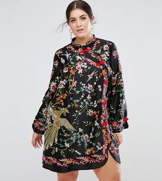Платье мини с вышивкой и воротником-стойкой ASOS CURVE - Мульти