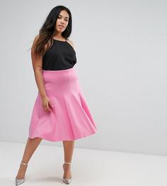 Юбка для выпускного с завышенной талией ASOS CURVE - Розовый