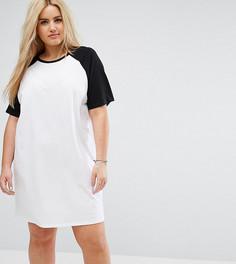Платье-футболка с контрастными рукавами реглан ASOS CURVE - Белый