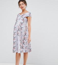 Короткое приталенное платье с цветочным принтом и запахом ASOS Maternity - Мульти