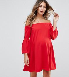 Платье с открытыми плечами и рукавами клеш ASOS Maternity - Красный
