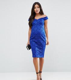 Облегающее кружевное платье миди с вырезом сердечком ASOS Maternity - Синий