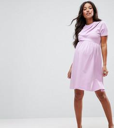 Платье с перекрестной отделкой спереди ASOS Maternity - Фиолетовый