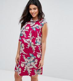 Двухслойное платье с цветочным принтом и оборками ASOS Maternity NURSING - Красный