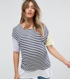 Двухслойная футболка в полоску ASOS Maternity NURSING - Мульти