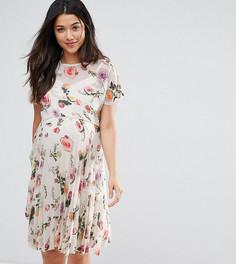 Плиссированное платье с цветочным принтом ASOS Maternity PETITE - Мульти
