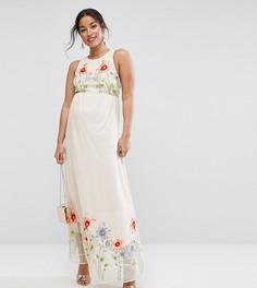 Сетчатое платье макси с вышивкой ASOS Maternity TALL - Розовый