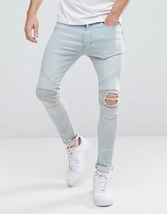 Байкерские джинсы скинни с рваными коленями Religion - Синий