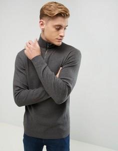 Джемпер из кашемировой смеси с воротником на молнии Esprit - Серый
