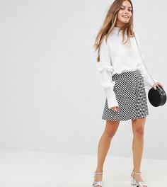 Короткая расклешенная юбка в клетку ASOS PETITE - Мульти