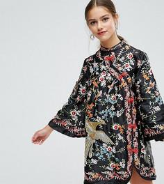 Платье мини с вышивкой и воротником-стойкой ASOS PETITE - Мульти