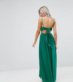 Платье макси на бретелях с глубоким вырезом и завязками на спине ASOS PETITE - Зеленый