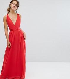 Платье макси с атласными завязками на спине эксклюзивно для ASOS PETITE - Мульти