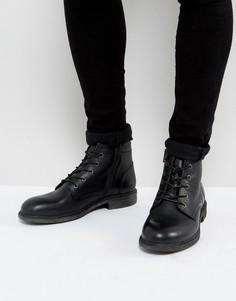 Черные кожаные ботинки на шнуровке Selected Homme - Черный