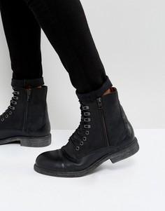 Черные высокие ботинки из кожи Selected Homme Trevor - Черный