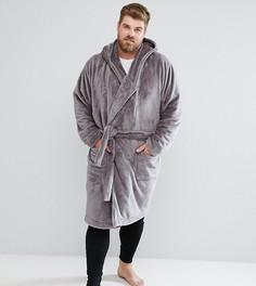 Халат из флиса с капюшоном ASOS PLUS - Серый