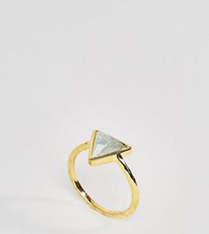 Кольцо с аквамарином и покрытием из 14-каратного золота Carrie Elizabeth - Золотой