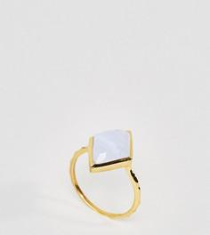 Кольцо с позолотой 14K и синим агатом Carrie Elizabeth - Золотой