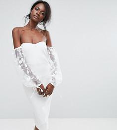 Платье с пышными рукавами и вышивкой Missguided - Кремовый