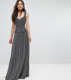 Платье макси с оборками и разрезом Y.A.S Tall - Темно-синий