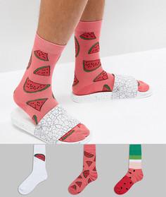 3 пары носков с принтом арбузов ASOS - Мульти