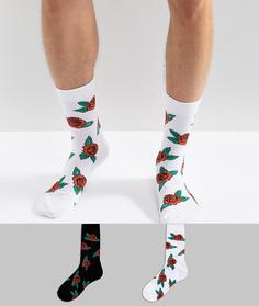 2 пары носков с принтом роз ASOS - Мульти