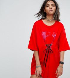 Платье-футболка с принтом рыб и шнуровкой Milk It Vintage - Красный