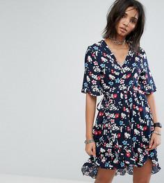 Платье мини с запахом и цветочным принтом Milk It Vintage - Черный