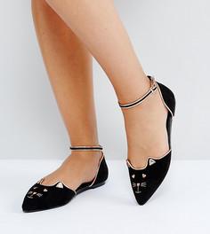 Балетки для широкой стопы с острым носком и котами ASOS LEXUS - Черный
