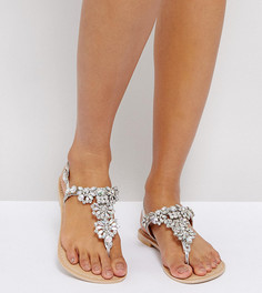 Кожаные сандалии для широкой стопы с отделкой ASOS FENDER - Серебряный