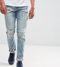 Светлые джинсы скинни с рваной отделкой ASOS TALL - Синий